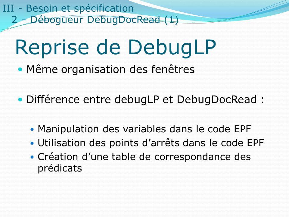 Reprise de DebugLP Même organisation des fenêtres