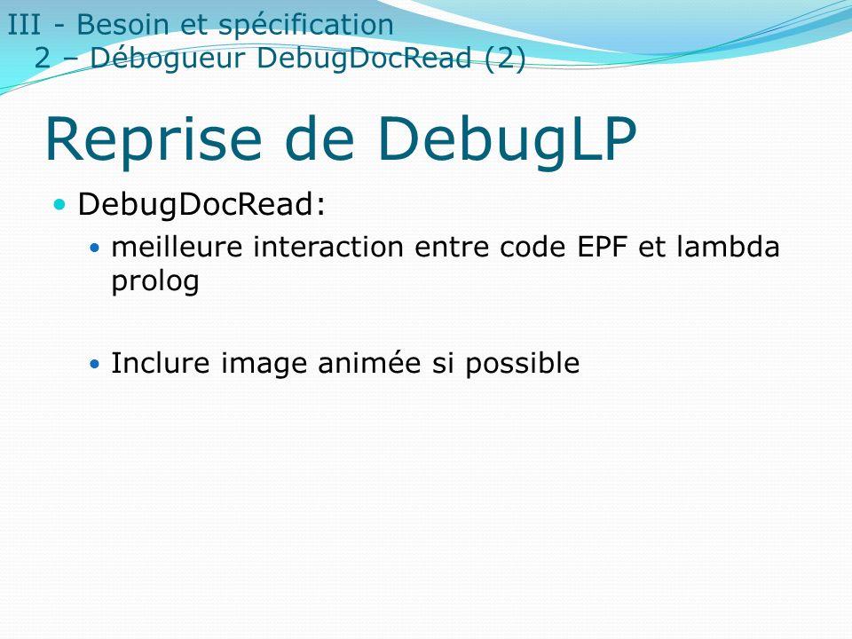 Reprise de DebugLP DebugDocRead: III - Besoin et spécification