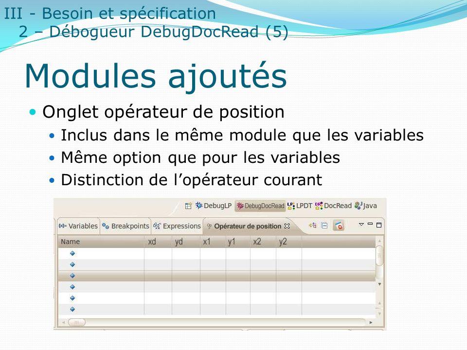 Modules ajoutés Onglet opérateur de position