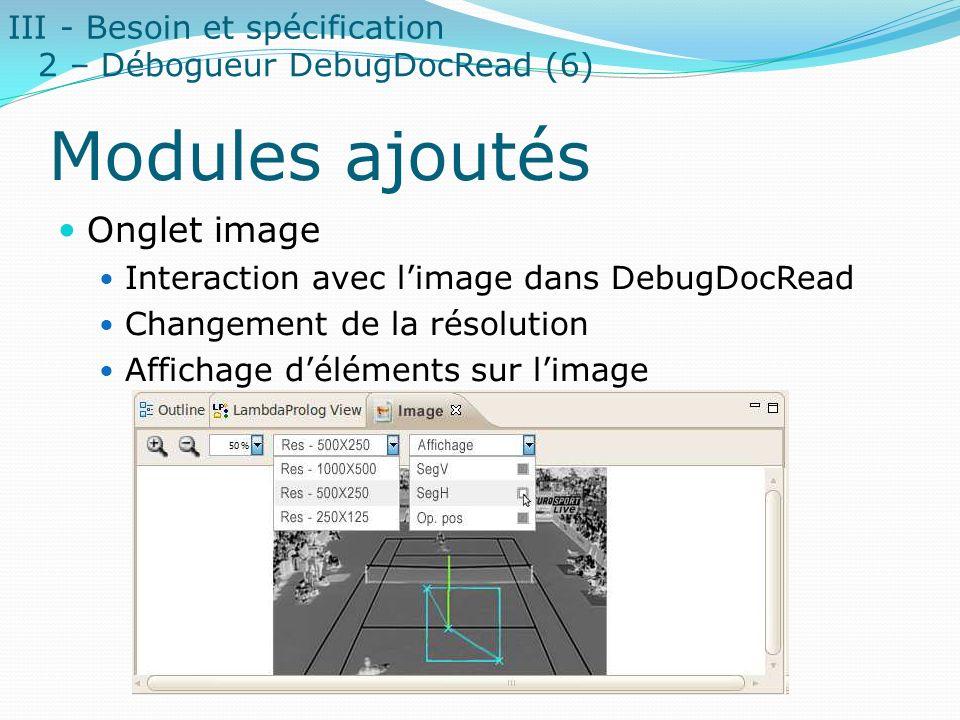 Modules ajoutés Onglet image III - Besoin et spécification