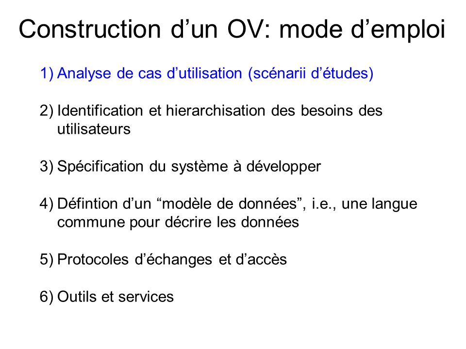 Construction d'un OV: mode d'emploi