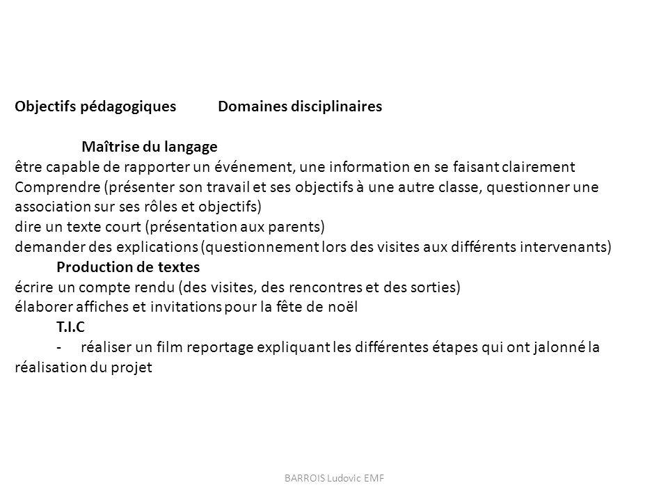 Objectifs pédagogiques Domaines disciplinaires Maîtrise du langage