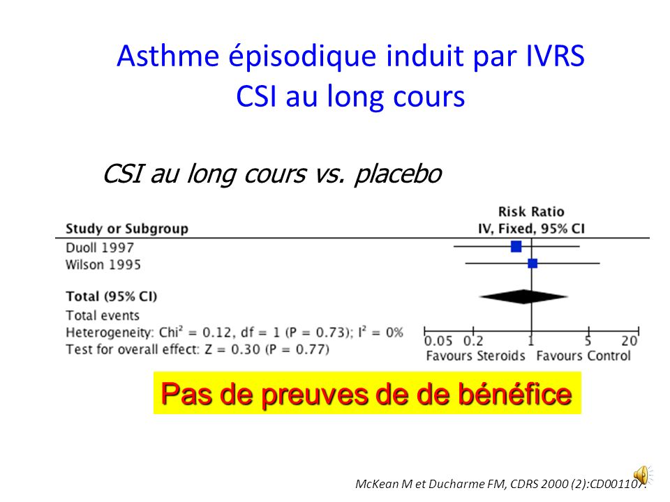 Asthme épisodique induit par IVRS CSI au long cours