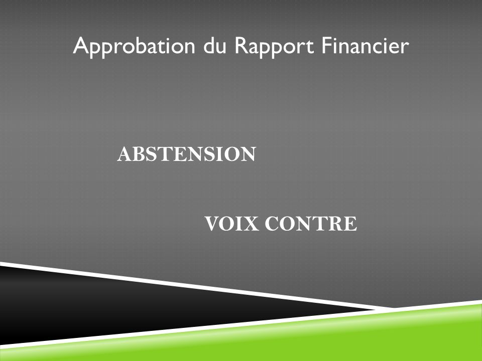 Approbation du Rapport Financier