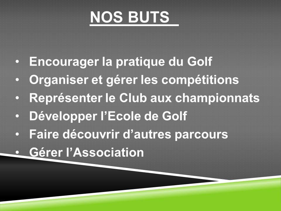 NOS BUTS Encourager la pratique du Golf