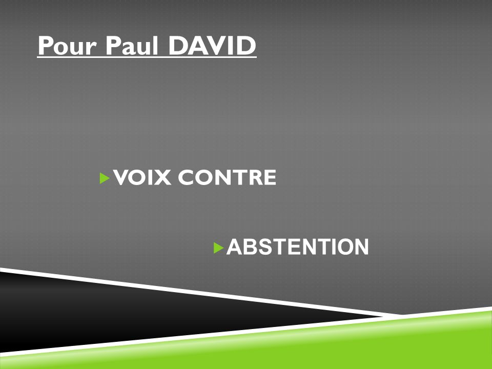 Pour Paul DAVID VOIX CONTRE ABSTENTION