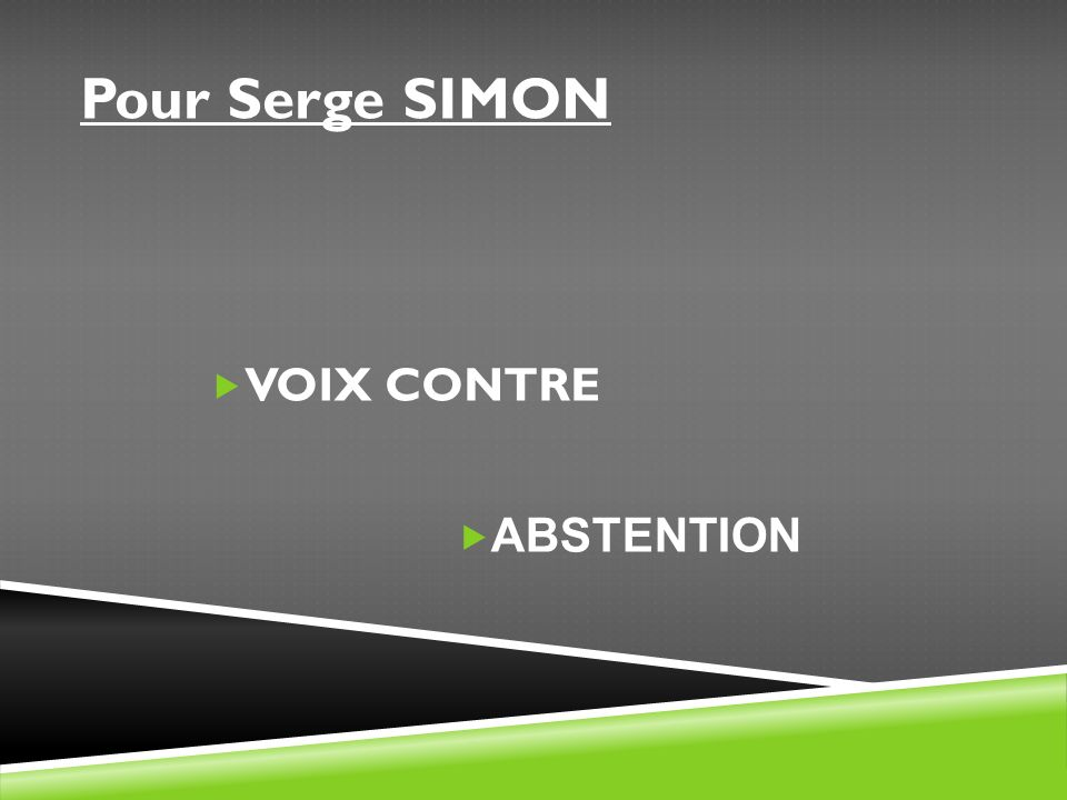 Pour Serge SIMON VOIX CONTRE ABSTENTION