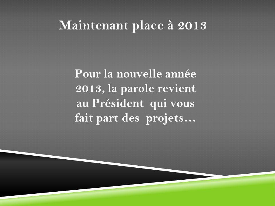 Maintenant place à 2013 Pour la nouvelle année 2013, la parole revient au Président qui vous fait part des projets…