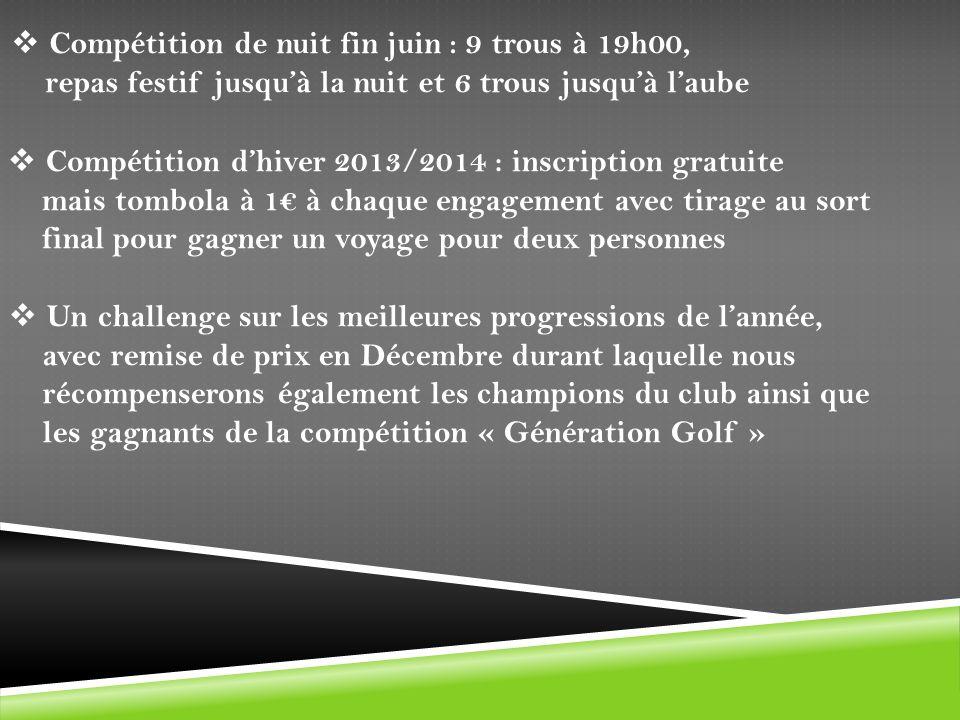 Compétition de nuit fin juin : 9 trous à 19h00,