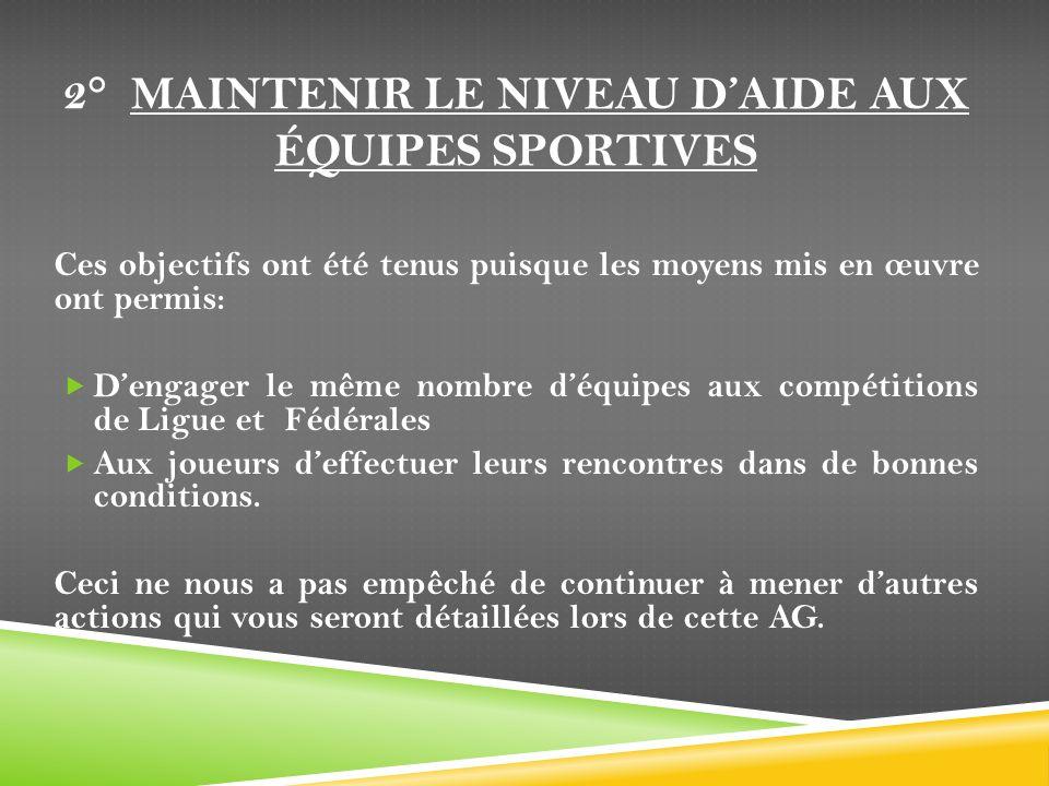 2° Maintenir le niveau d'aide aux équipes sportives