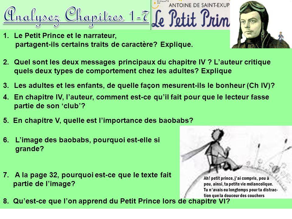 Analysez Chapitres 1-7 Le Petit Prince et le narrateur,
