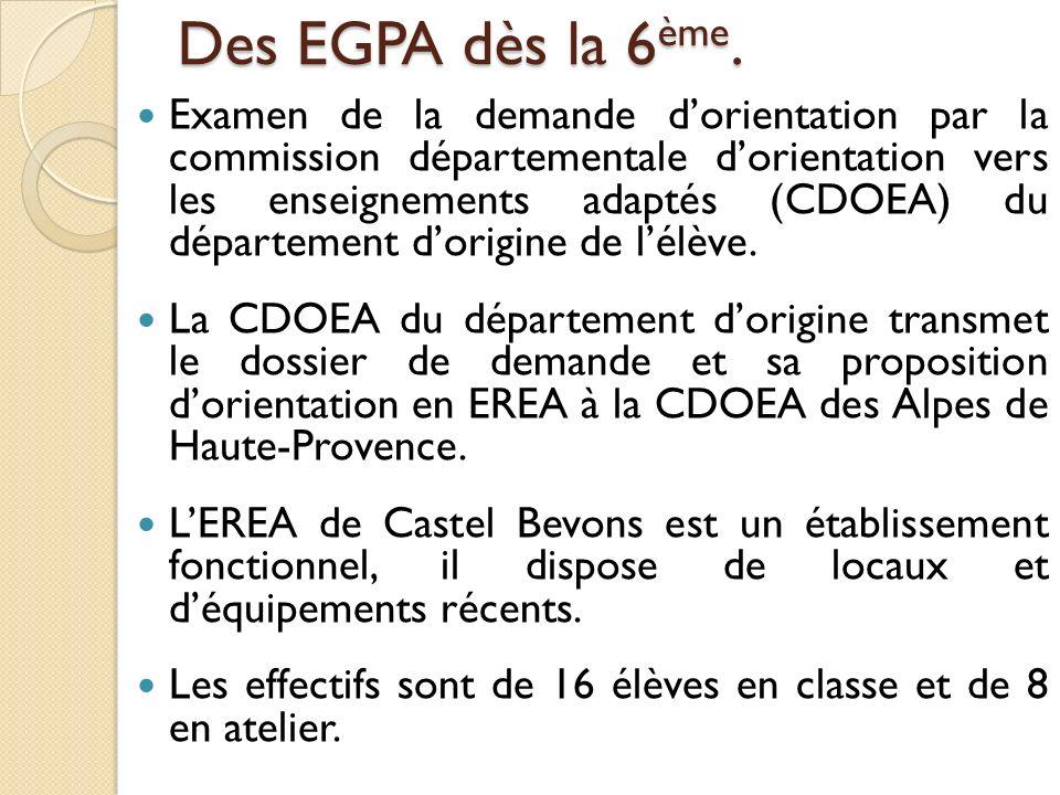 Des EGPA dès la 6ème.