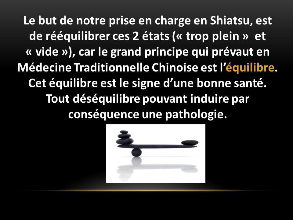 Le but de notre prise en charge en Shiatsu, est de rééquilibrer ces 2 états (« trop plein » et « vide »), car le grand principe qui prévaut en Médecine Traditionnelle Chinoise est l'équilibre.