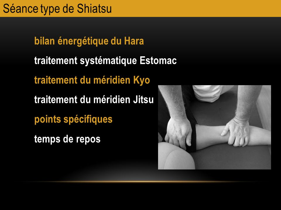 Séance type de Shiatsu bilan énergétique du Hara