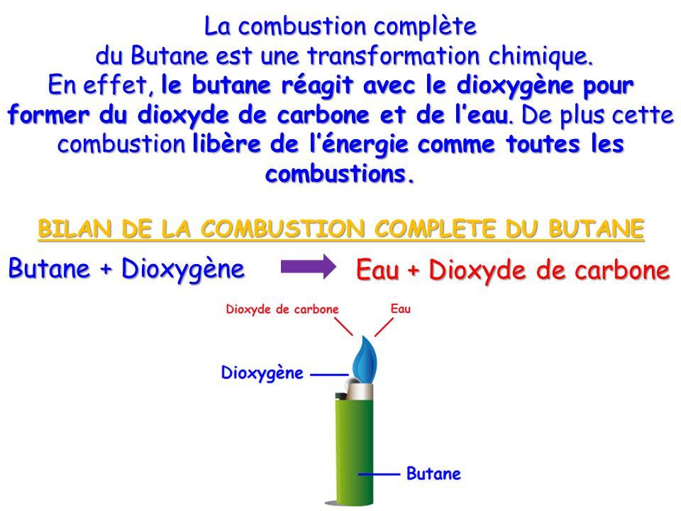 BILAN DE LA COMBUSTION COMPLETE DU BUTANE