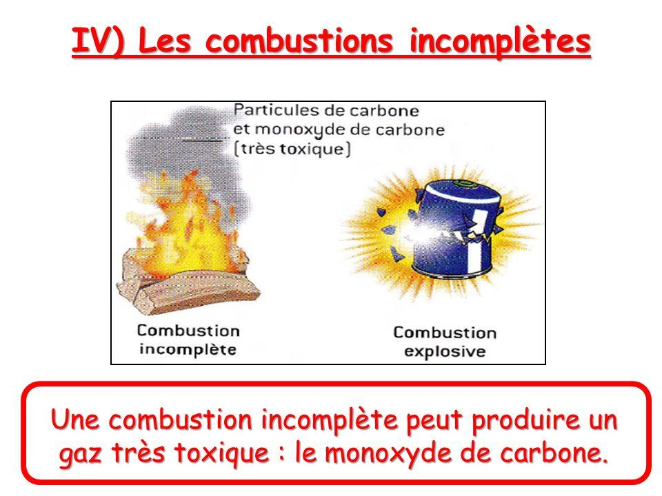 IV) Les combustions incomplètes