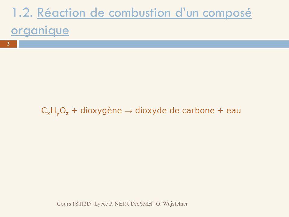 1.2. Réaction de combustion d'un composé organique