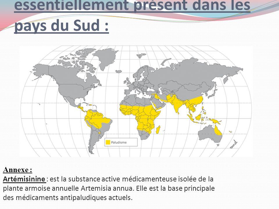 6-Le paludisme est essentiellement présent dans les pays du Sud :
