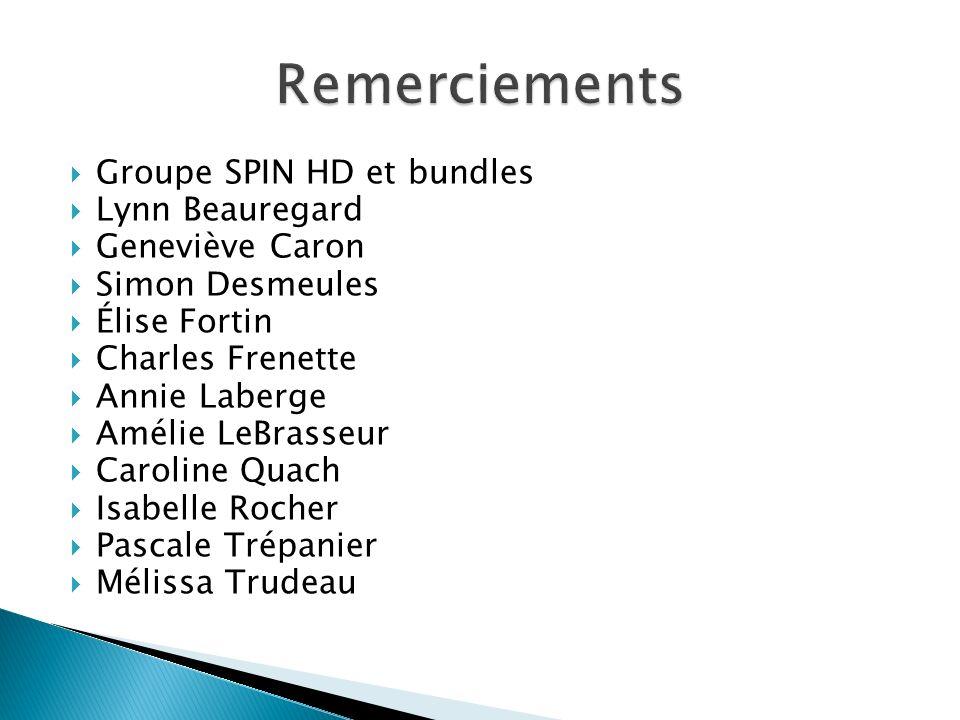 Remerciements Groupe SPIN HD et bundles Lynn Beauregard