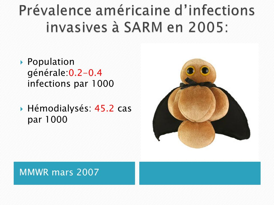Prévalence américaine d'infections invasives à SARM en 2005: