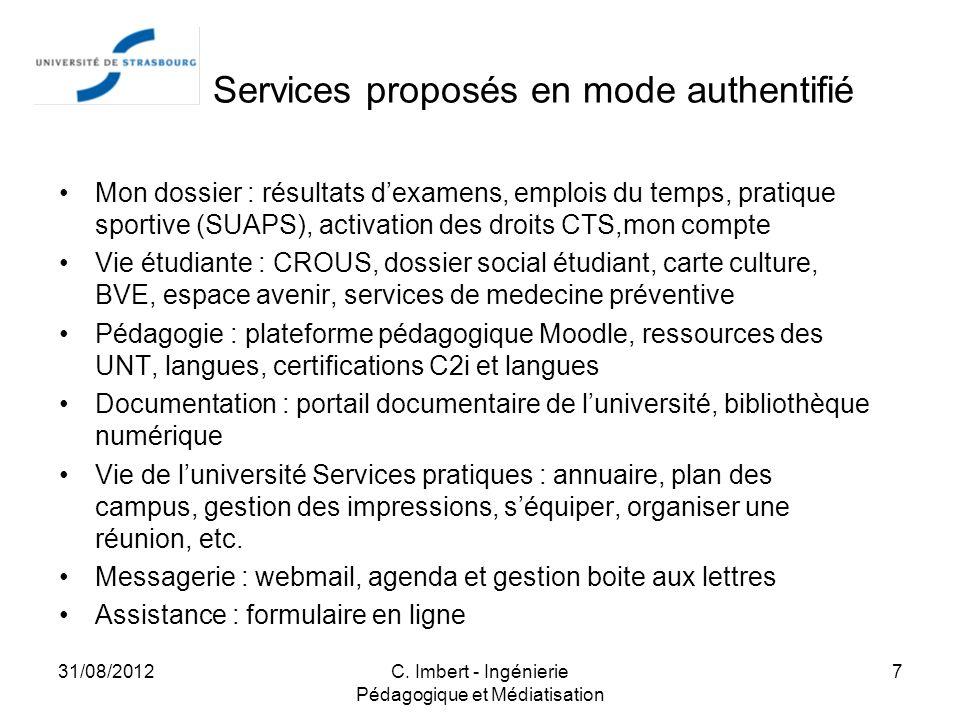 ENT : Services proposés en mode authentifié