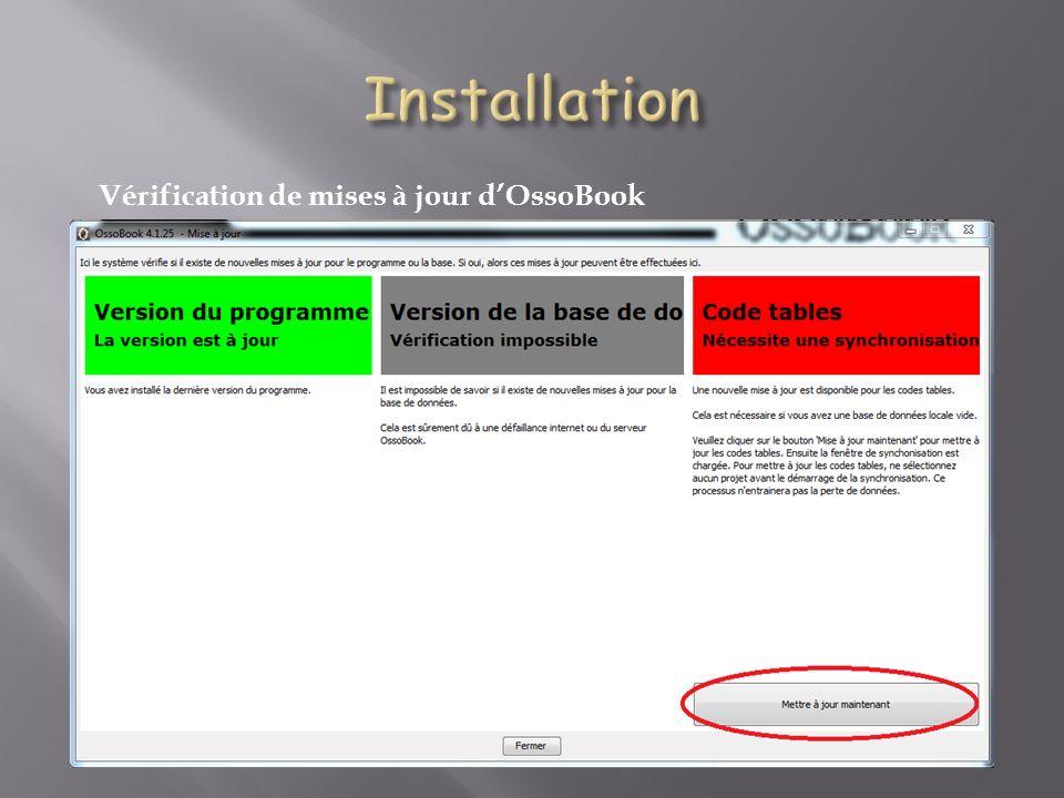 Installation Vérification de mises à jour d'OssoBook