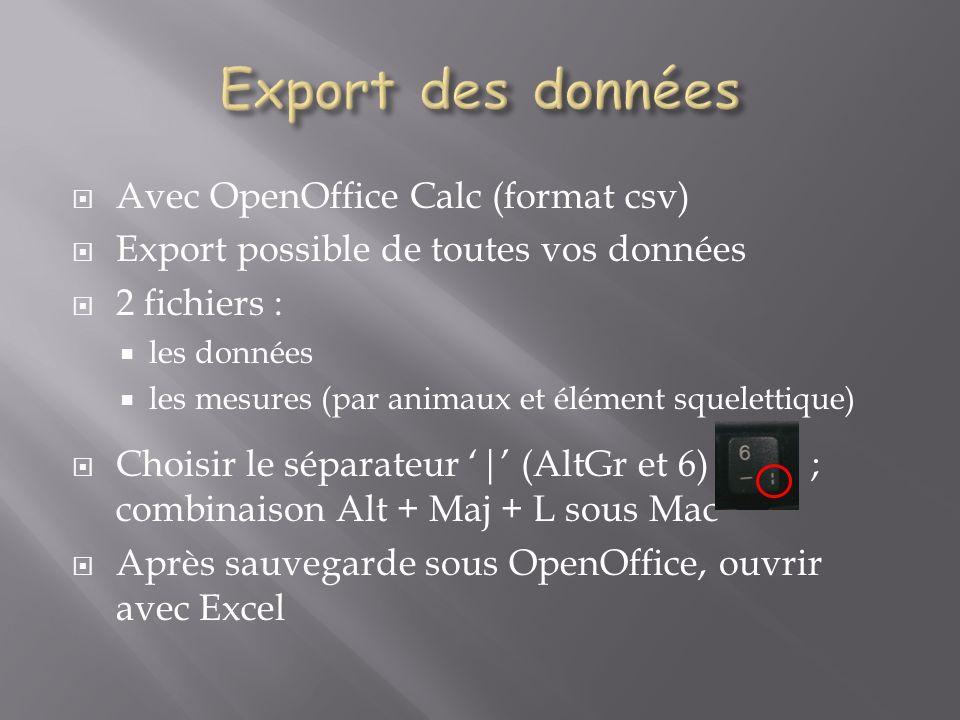 Export des données Avec OpenOffice Calc (format csv)