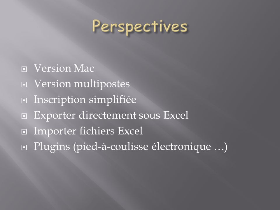 Perspectives Version Mac Version multipostes Inscription simplifiée