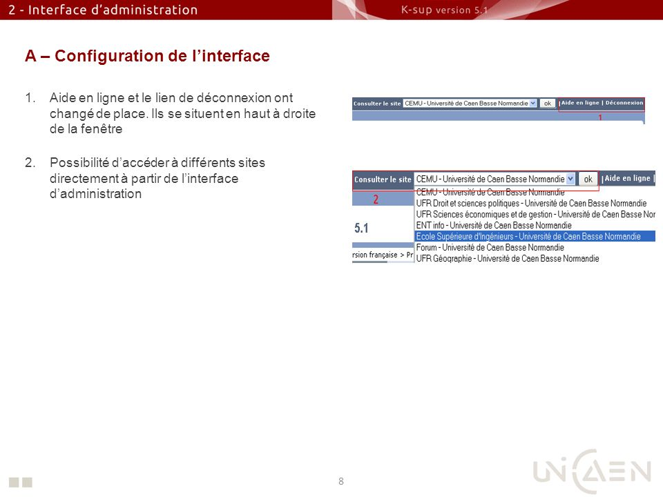 A – Configuration de l'interface