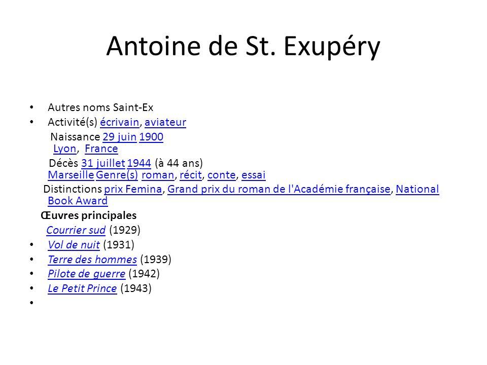 Antoine de St. Exupéry Autres noms Saint-Ex