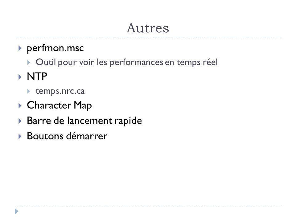 Autres perfmon.msc NTP Character Map Barre de lancement rapide