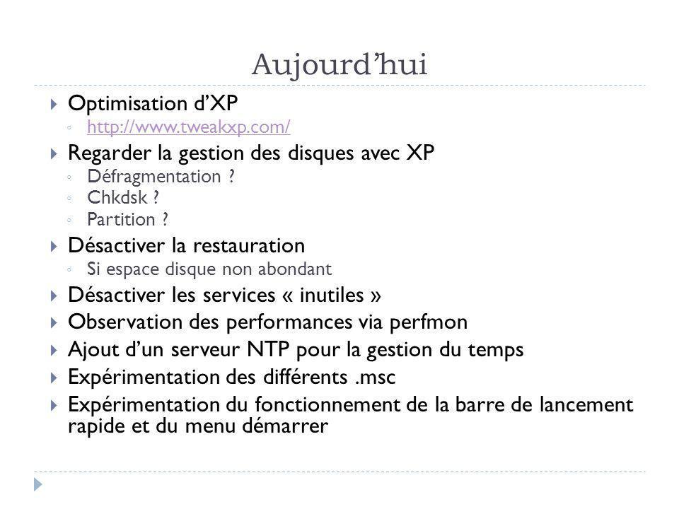 Aujourd'hui Optimisation d'XP Regarder la gestion des disques avec XP