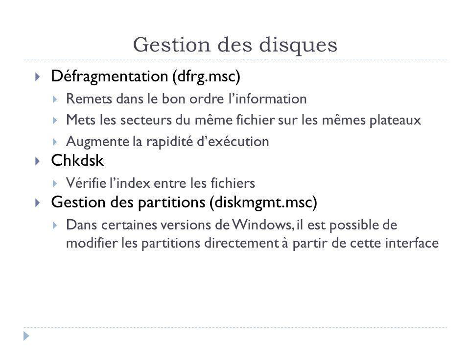 Gestion des disques Défragmentation (dfrg.msc) Chkdsk