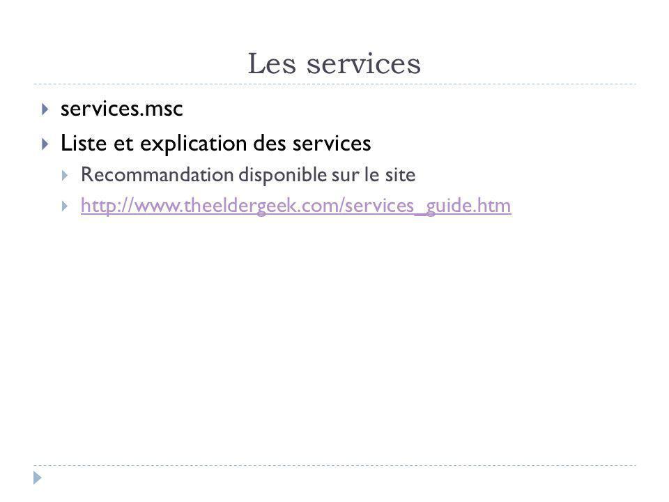 Les services services.msc Liste et explication des services