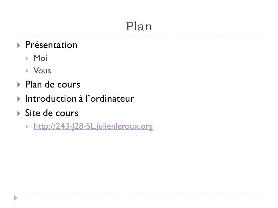 Plan Présentation Plan de cours Introduction à l'ordinateur