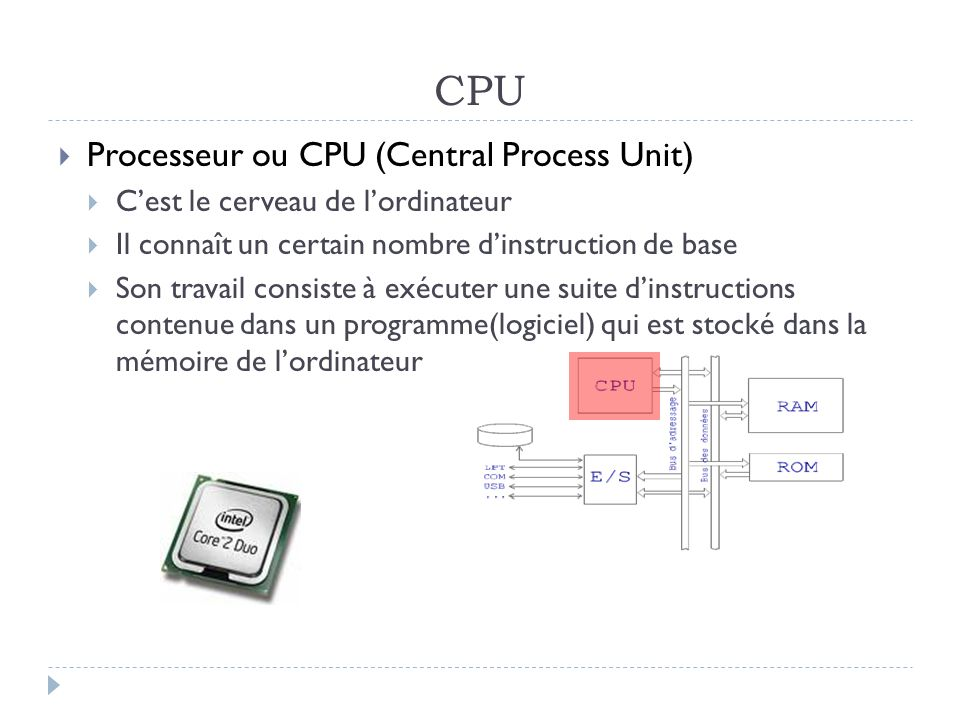 CPU Processeur ou CPU (Central Process Unit)