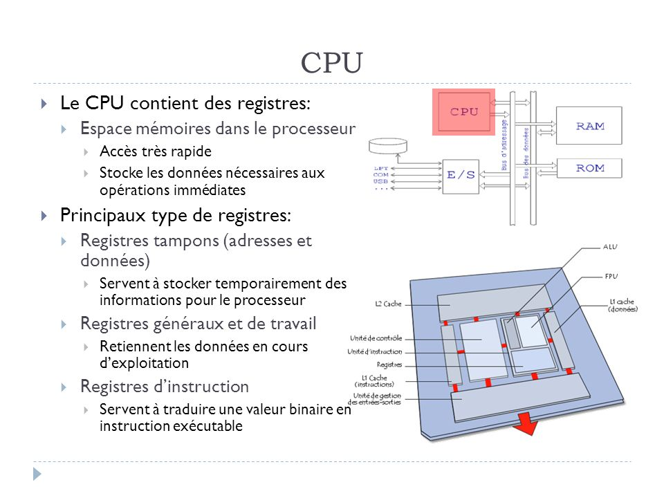 CPU Le CPU contient des registres: Principaux type de registres: