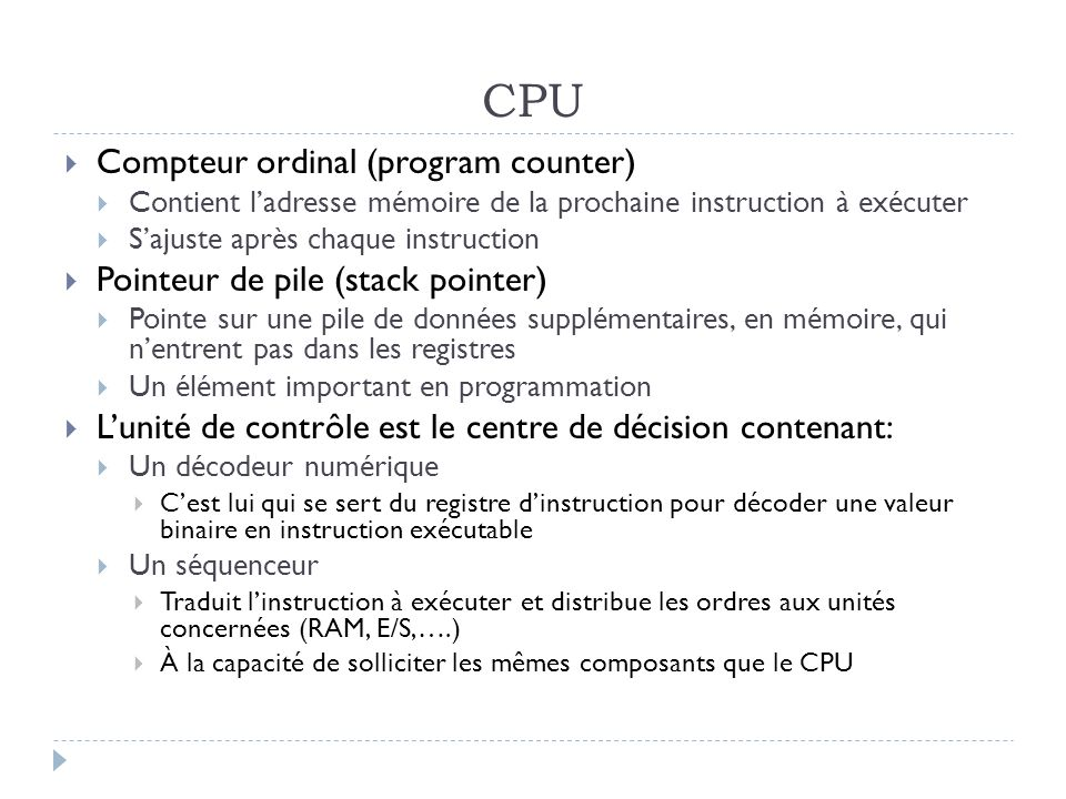 CPU Compteur ordinal (program counter)
