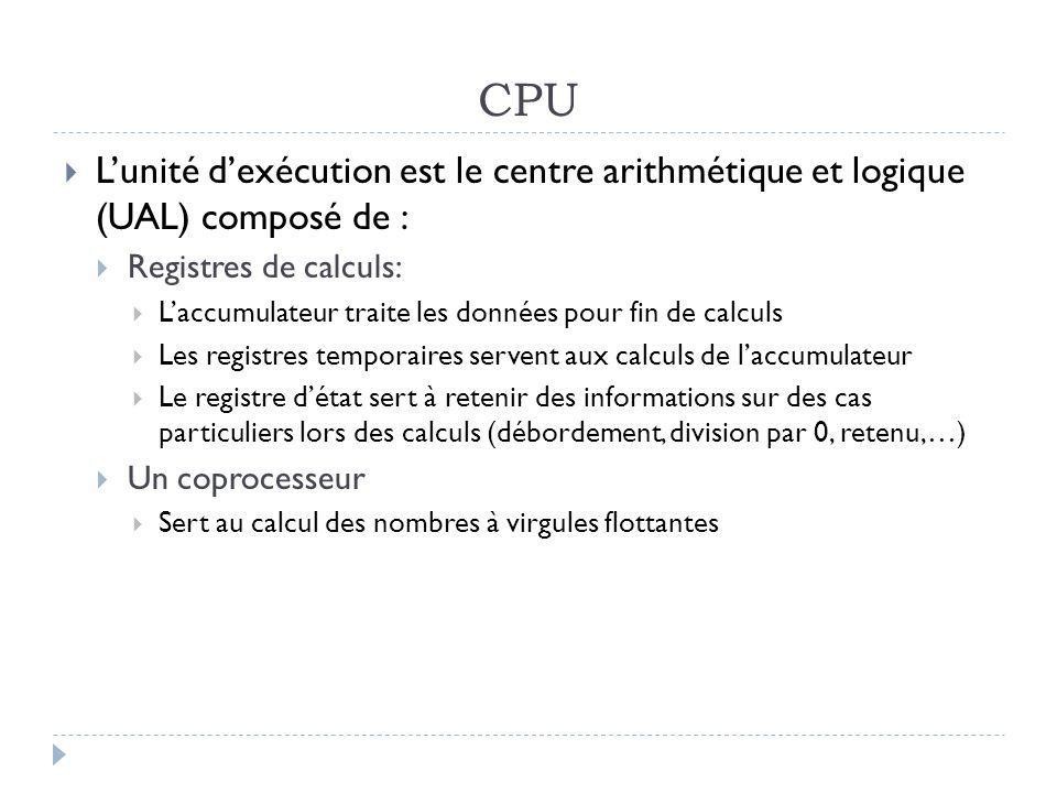 CPU L'unité d'exécution est le centre arithmétique et logique (UAL) composé de : Registres de calculs: