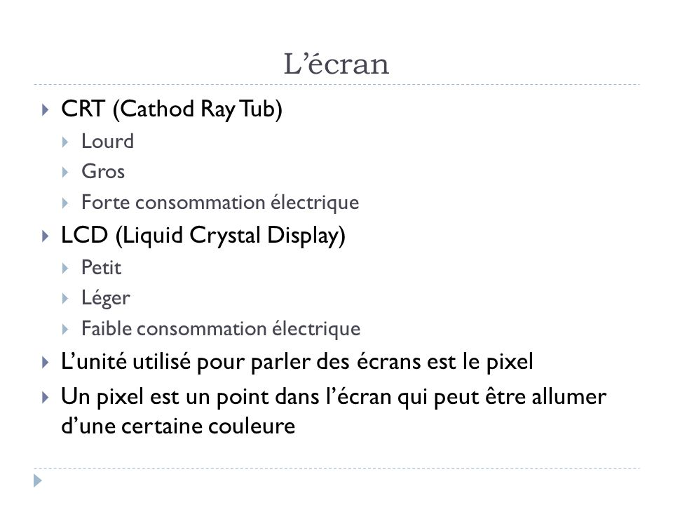 L'écran CRT (Cathod Ray Tub) LCD (Liquid Crystal Display)