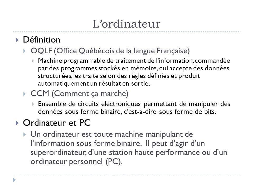 L'ordinateur Ordinateur et PC Définition CCM (Comment ça marche)