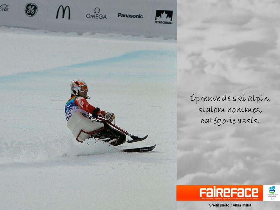 Épreuve de ski alpin, slalom hommes, catégorie assis.