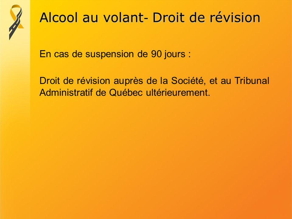 Alcool au volant- Droit de révision