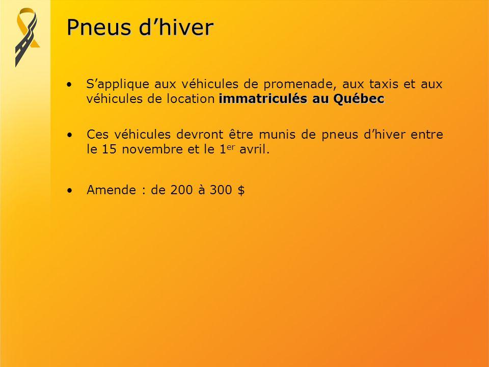 Pneus d'hiver S'applique aux véhicules de promenade, aux taxis et aux véhicules de location immatriculés au Québec.