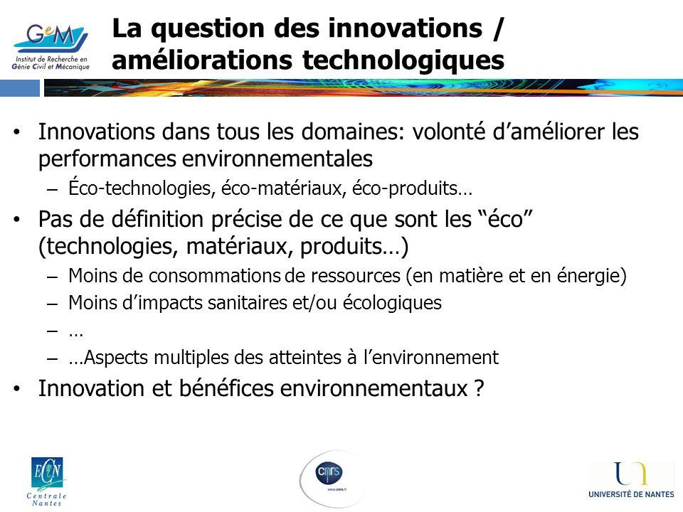 La question des innovations / améliorations technologiques