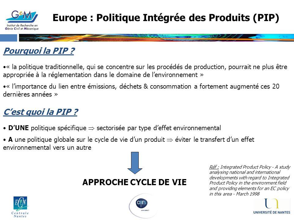 Europe : Politique Intégrée des Produits (PIP)