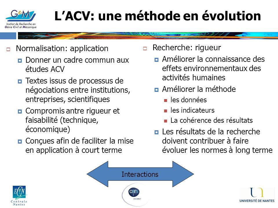 L'ACV: une méthode en évolution