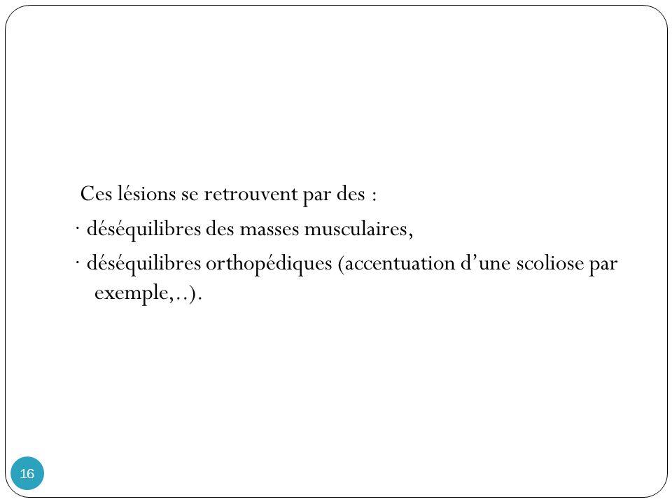 Ces lésions se retrouvent par des : · déséquilibres des masses musculaires, · déséquilibres orthopédiques (accentuation d'une scoliose par exemple,..).