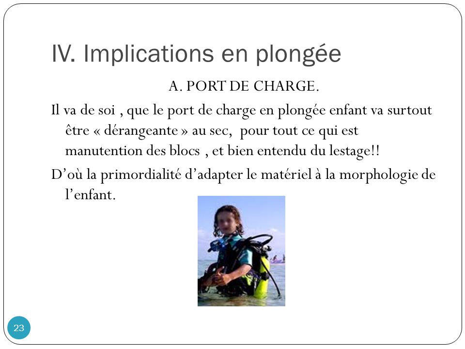 IV. Implications en plongée