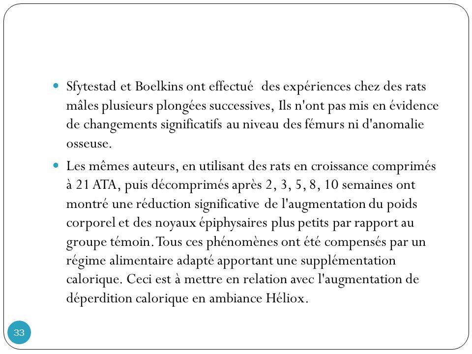 Sfytestad et Boelkins ont effectué des expériences chez des rats mâles plusieurs plongées successives, Ils n ont pas mis en évidence de changements significatifs au niveau des fémurs ni d anomalie osseuse.